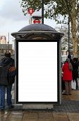 stock photo of bus-shelter  - Bus stop close to Stratford Tube Station - JPG