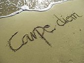 Carpe Diem Phrase in Sand