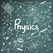 Постер, плакат: Physics Science Theory Law And Mathematical Formula Equation Doodle Handwriting And Model Icon In I