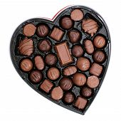 foto of heart shape  - Heart shaped box of dark and light assorted chocolates - JPG