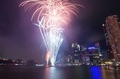 Fireworks By The River In The City