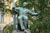 picture of tchaikovsky  - The bronze monument to the Russian composer Tchaikovsky built at the Moscow Conservatory - JPG