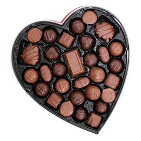 foto of heart shape  - Heart shaped box of dark and light assorted chocolates - JPG