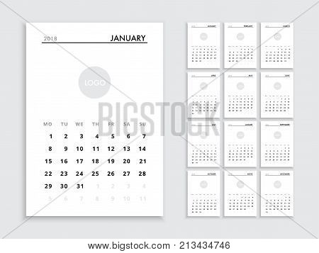 Calendar template for 2018 year planner vector diary in a calendar template for 2018 year planner vector diary in a minimalist style corporate and cheaphphosting Choice Image