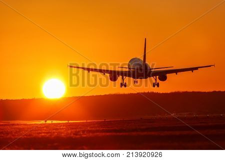 poster of Airplane Airport Aviation Sun Sunset Vacation Holidays Travel Traveling Plane