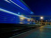 blue moving train blur