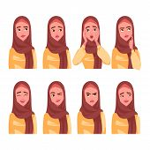 Set Of Muslim Womans Emotions. poster