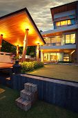 foto of villa  - View of nice modern villa in  summer after dark  environment - JPG