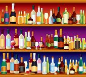 Seamless Bar or Pub Shelves, with lots of alcohol drinks and glasses