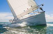 Close up of sailing boat, sail boat or yacht at sea poster