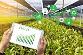 Agriculture Technology Concept Man Agronomist Using A Tablet Internet Of Things  Report poster