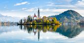 Lake Bled Slovenia. Beautiful Mountain Lake With Small Pilgrimage Church. poster