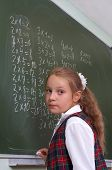 Lesson. Schoolgirl At The Blackboard.