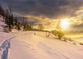 Rural Footpath Through Snowy Hillside At Sunset poster