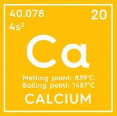 Calcium. Alkaline Earth Metals. Chemical Element Of Mendeleevs Periodic Table. 3D Illustration. poster