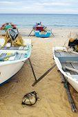 Fishing boats on Marang beach, Terengganu, Malaysia.