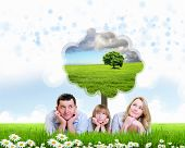 stock photo of dream home  - happy family spending time together outdoors - JPG