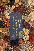 Chinese acupuncture needles, feng shui coins with traditional herbs and  calligraphy script  Transla poster
