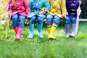 Kids In Rain Boots. Foot Wear For Children. poster