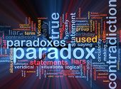 Background concept wordcloud illustration of Paradox contradiction glowing light