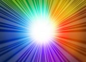 stock photo of laser beam  - Rainbow light glow rays represented by a star burst glowing blue green red and purple hues radiating from the center - JPG