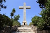 picture of filerimos  - cross and the observation deck on the mount filerimos Greece Rhodes - JPG