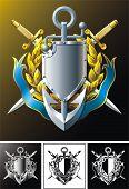 Anchor, dirks, badge and ribbon