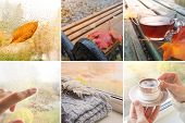 Rainy Autumn Collage. Collage With Rainy Views Of Autumn. poster