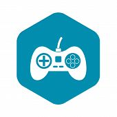 Video Game Console Controller Icon. Simple Illustration Of Video Game Console Controller Icon For We poster