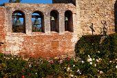 Mission San Juan Capistrano Church Wall Bells Ruins Rose Garden