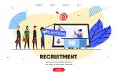 Hr, Recruitment Agency. Web Banner, Landing Page. Woman, Head Hunter Manager Reading Job Applicants  poster