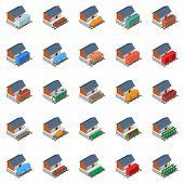 Railway Station Icons Set. Isometric Set Of 25 Railway Station Icons For Web Isolated On White Backg poster