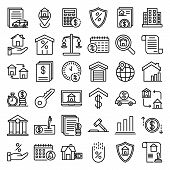 Mortgage Icons Set. Outline Set Of Mortgage Icons For Web Design Isolated On White Background poster