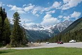 Beautiful Mountains Landscape Of Rogers Pass In Canadian Rocky Mountains In Summer Sunny Day, Rogers poster
