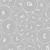 International Currencies Silver Coins Seamless Pattern. Powerful Scattered Black And White Global Co poster