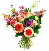 bouquet of roses, gerberas and alsrtomerias