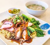 Dry Wonton Mee With Roasted Pork Meat And Vegetables poster