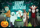 Halloween Monsters On Cemetery Vector Greeting Card Of October Holiday. Pumpkin Lantern, Ghost And B poster