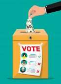 Voter And Politician Agreement. Voting Ballot And Envelope With Money. Selling Vote For Election. De poster