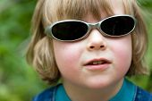 Blond Beautiful Funny Boy With Sunglasses (Series Children)