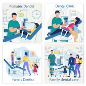 Bright Banner Is Written Pediatric Dentist Flat. Set Poster Dental Clinic, Family Dentist, Family De poster