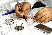 stock photo of mechanical engineer  - Mechanical Engineer doing his design of pressure vessel - JPG