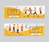 Marathon Runners Race Group Vector Illustration. Running Men And Women At Finish Of Marathon Race, W poster