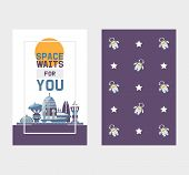 Space Tourism To Cosmos And Space Station Tours Vector Two Sides Banner With Pattern. Space Station  poster
