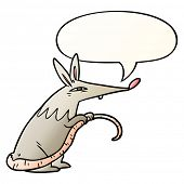 cartoon sneaky rat with speech bubble in smooth gradient style poster