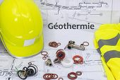 Geothermal Resource Graphic With House Plan Safety Equipment And Plumbing Equipment (géothermie Is G poster