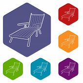 Beach Chaise Lounge Icon. Isometric 3d Illustration Of Beach Chaise Lounge Vector Icon For Web poster