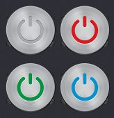 Set Of Vector Metal Power Button