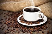 picture of hot coffee  - Cup of coffee coffee beans on old wooden table - JPG
