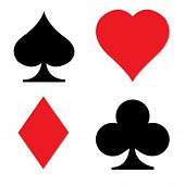 Set Of Playing Card Icon On White Background. Flat Style. Card Suit Icon For Your Web Site Design, L poster
